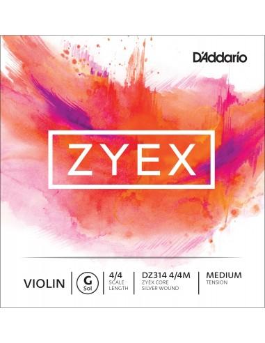 """CUERDA VIOLIN 4/4 MED D´ADDARIO ZYEX GDZ314 SVR """"CO SOL"""