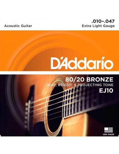 JUEGO CUERDAS GUITARRA ACUSTICA D´ADDARIO EXTRA LIGHT BRONZE EJ-10(010-047)