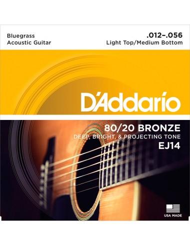 JUEGO CUERDAS GUITARRA ACUSTICA D´ADDARIO CUSTOM LIGHT BRONZE EJ-14 (012-056)